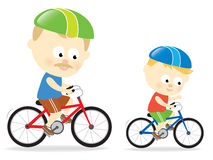 Father and son biking vector illustration