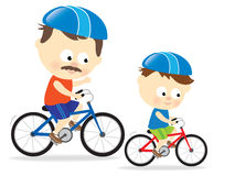 Father and son biking. Illustration of a father and son riding bicycles Stock Photography
