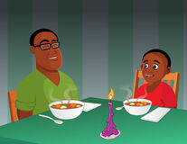 Father son black dinner Royalty Free Stock Photography