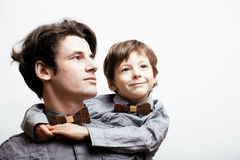 Father with son in bowties isolated Stock Image