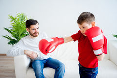 Father and son boxing Royalty Free Stock Photo