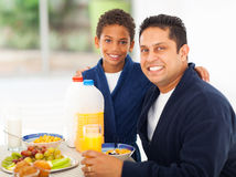 Father son breakfast Stock Photo
