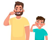 Father and son brush their teeth with toothpaste. Mouth Hygiene. Vector illustration. In cartoon style vector illustration