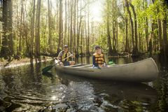 Father and son canoeing together in a tropical river Stock Photo