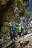 Father and son in a canyon Stock Image