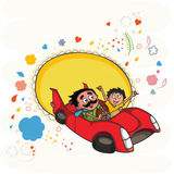 Father and son in car for Happy Fathers Day. Stock Photos