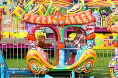 Father Son Carnival Train Ride Stock Images
