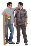 Father and son carpentry team Royalty Free Stock Photos