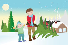 Father and son carrying a christmas tree vector illustration