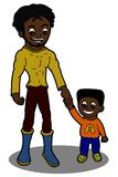 Father and son cartoon royalty free stock photography