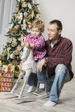 Father and son celebrating Christmas Royalty Free Stock Image
