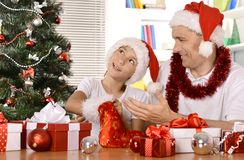 Father and son celebrating New Year Royalty Free Stock Image