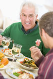 Father And Son At Christmas Dinner Stock Photography