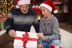 Father with son during Christmas Stock Photo