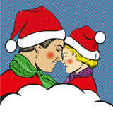 Father and son Christmas pop art comic vector Royalty Free Stock Images
