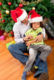 Father and son christmas portrait Stock Images