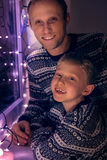 Father with son Christmas portrait Stock Images