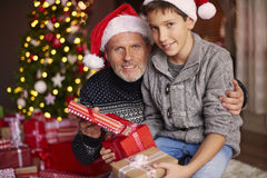 Father with son during Christmas. Father is son's best friend Stock Photo
