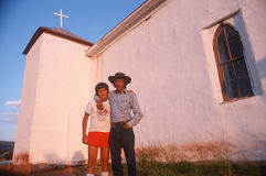 A father and son at a church, NM Royalty Free Stock Photos