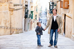 Father and son in city Royalty Free Stock Images