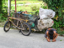Father and Son Collect Roadside Recycle Items Stock Images