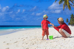 Father and son collecting shells on the beach Royalty Free Stock Photography