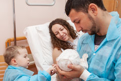 Maternity ward. Father and son come to visit mom in the maternity ward royalty free stock image