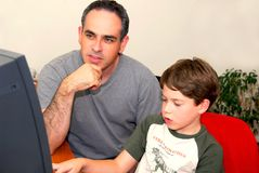 Father son computer Royalty Free Stock Photo