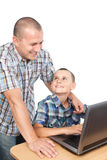 Father and son at the computer Stock Image