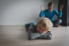 Father and son conflict, agression, abuse, misunderstanding stock image