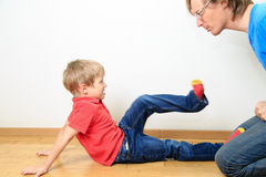Father and son conflict Stock Photography
