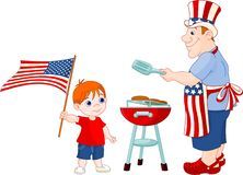 Father and Son cooking A Hamburgers. On A Barbecue Grill at Fourth of July stock illustration