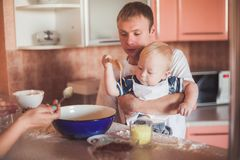 Father and son cooking Stock Image