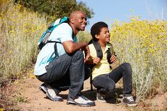 Father and son on country hike. Smiling Royalty Free Stock Photo