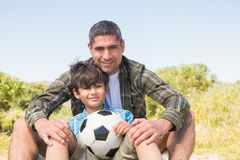 Father and son in the countryside Royalty Free Stock Photo