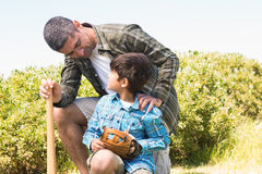 Father and son in the countryside Stock Image