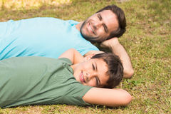 Father and son in the countryside Stock Photo