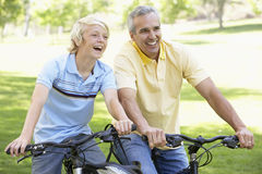Father And Son Cycling Through A Park Royalty Free Stock Image