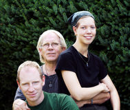 Father with son and daughter. Outdoor stock photos