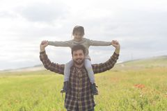 Happy father with daughter and son stock photos