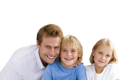 Father with son and daughter, smiling, portrait, cut out stock photo
