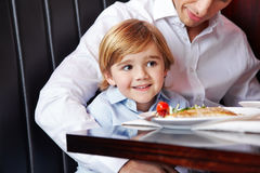 Father and son at the dining table Royalty Free Stock Photography