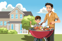 Father and son doing barbecue. A vector illustration of a father and his son doing barbecue at home vector illustration