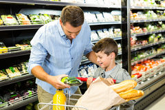 Father and son doing grocery shopping Royalty Free Stock Image