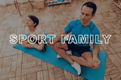 Father And Son Are Doing A Gym. Sport Family. Father And Son Are Doing Gym. Sport Family. Healthy Lifestyle. Active Holiday. Exercises Clothes. Getting Better Stock Images