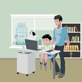 Father with son doing homework on desktop computer. Vector illustration Royalty Free Stock Image