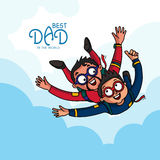 Father and son doing skydiving for Fathers Day. Royalty Free Stock Photo