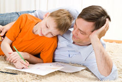Father and son  draw Royalty Free Stock Photos