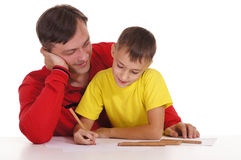 father and son drawing Stock Image