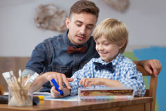 Father and son drawing Royalty Free Stock Photo